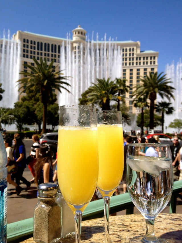 I took this photo from our table at Mon Ami Gabi during brunch. Great views of the Bellagio fountains!